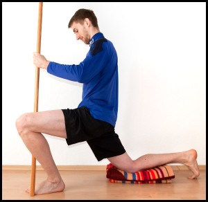 ankle mobility hip flexor stretch with stick