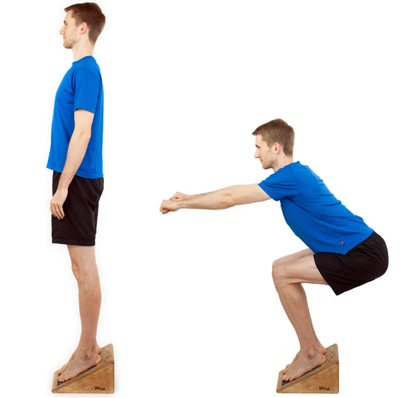 Patellar tendonitis exercise: eccentric squats on a slanted board