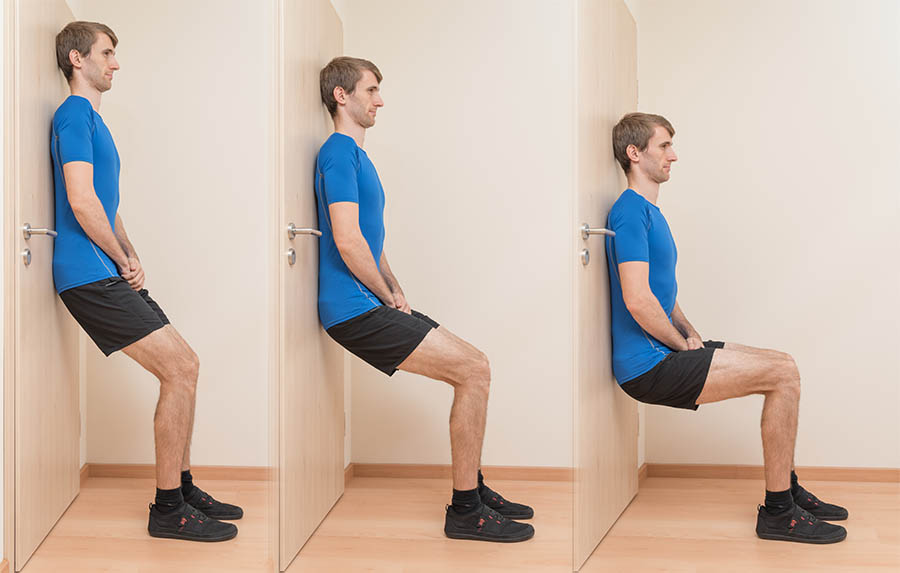 The wall sit exercise for patellar tendonitis
